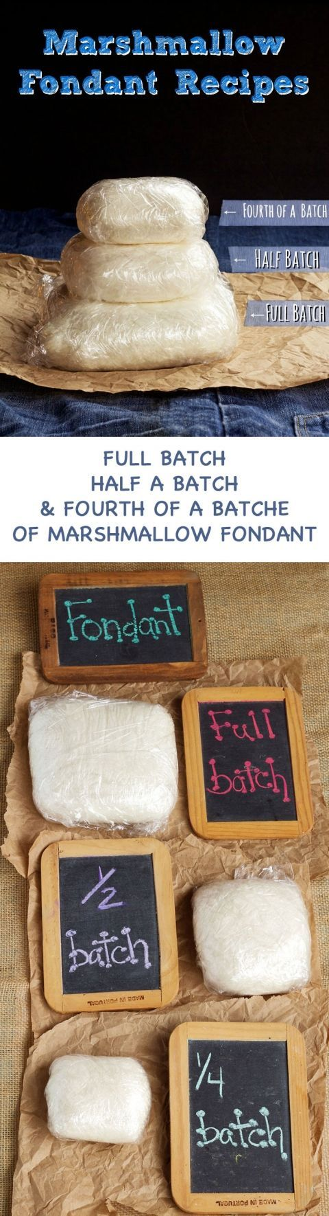 Looking for a Marshmallow Fondant Recipe - Here is Three Different Sized Batches of an Easy Fondant Recipe-Full Batch, 1:2 Batch and 1:4 Batch via http://www.thebearfootbaker.com