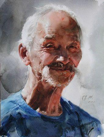 guan weixing watercolor | Guan Weixings watercolor-- Old man from northeast