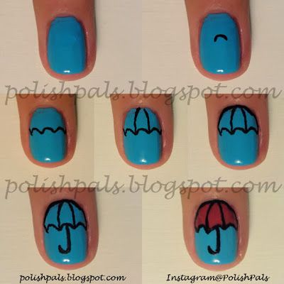 Spring Nail Art Tutorial -- How to make your own umbrella nails!