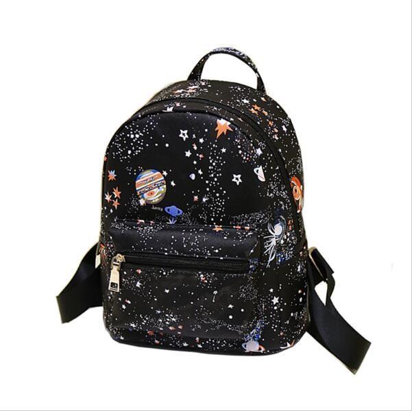 Estrella de la manera del Universo del Espacio de Impresión Mochila Mochilas escolares Para Las Niñas Adolescentes Mochila Pequeña de Las Mujeres de Cuero Negro bolsa