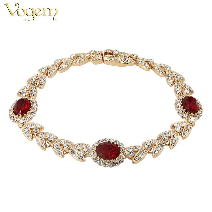 VOGEM 2017 Gold 585 Red Rhinestone Crystal Bracelets For Women Rose Gold Color Charms Mother's Day Bracelets Fashion Jewelry