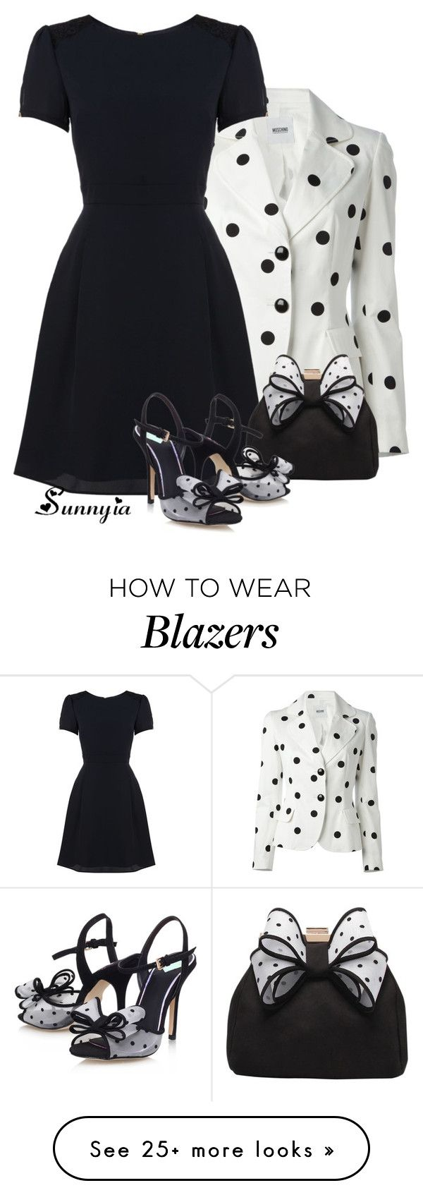 """""""Pokla Dot Blazer"""" by sunnyia on Polyvore featuring Moschino Cheap & Chic, Therapy and Miss KG"""