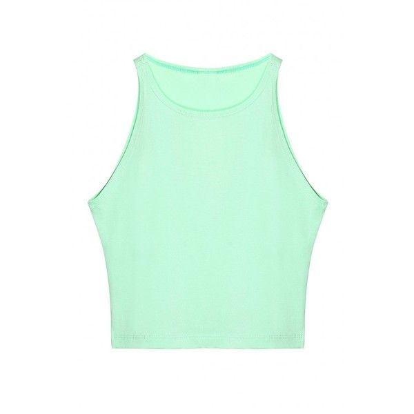 Yoins Crew Neck Crop Top In Mint Green ($10) ❤ liked on Polyvore featuring tops, crop top, shirts, crop, green, sports shirts, green shirt, green top, leather shirt and mint green top