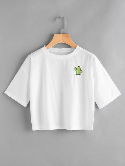 Pocket Cactus Embroidered Tee || graphic tee || cute t-shirt || plain white tee || casual outfit inspiration || illustrated cactus || illustration || cactus crop top
