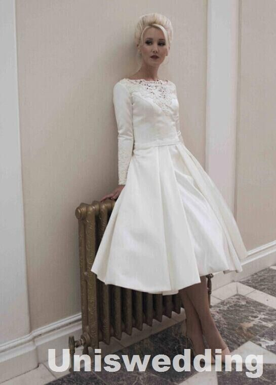 Amazing Long Sleeves Satin Lace Appliques with Beadings Round Neck A-line Ball Tea-length Vintage Wedding Dress Hand Made Online with $157.07/Piece on Uniswedding's Store | DHgate.com