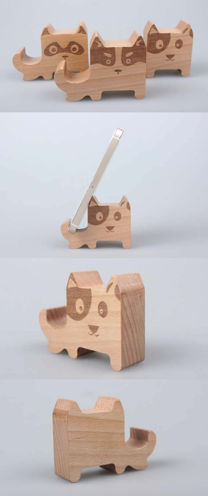 Wooden Dog Shaped Mobile Display Stand