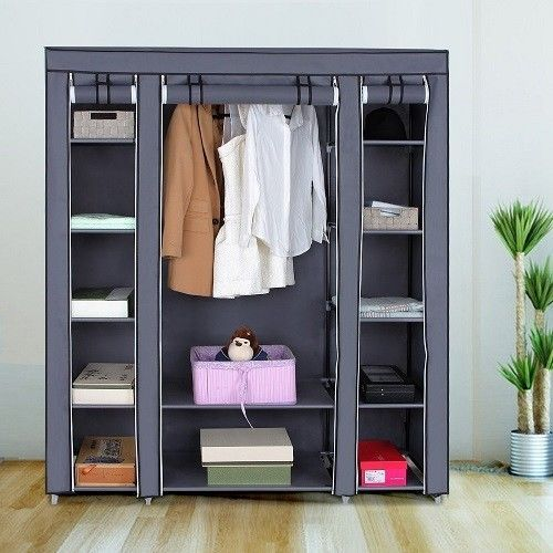 Portable Wardrobe Closet large Gray Shelving Lightweight Reorganize Guest Room #Gray