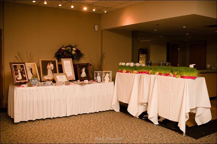 reception entrance with parents' wedding photos