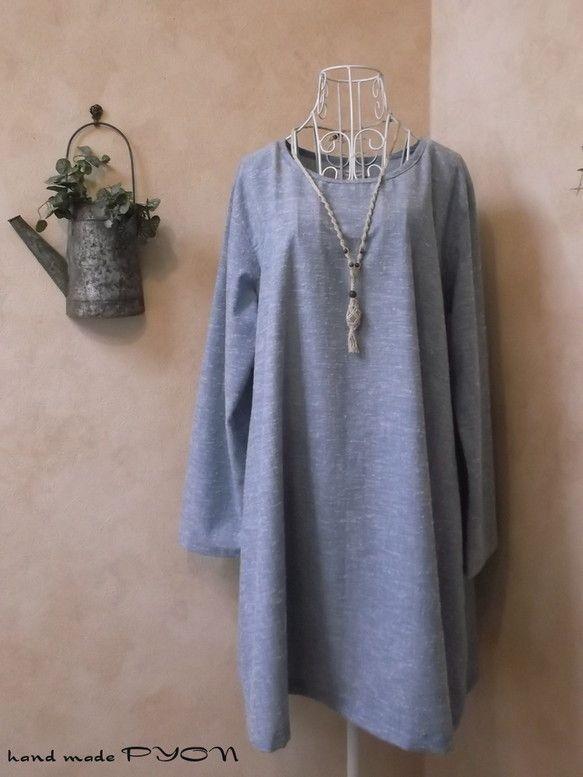 経糸がブルーで、横糸がホワイトの、播州織先染め織物のネップのあるダンガリーで作ったシンプルなAラインのワンピースです。生地は厚くはありませんが、片面だけ、少し...|ハンドメイド、手作り、手仕事品の通販・販売・購入ならCreema。