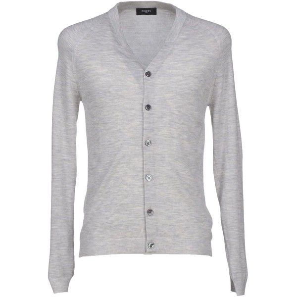 Ports 1961 Cardigan ($220) ❤ liked on Polyvore featuring men's fashion, men's clothing, men's sweaters, light grey, mens cashmere sweaters, mens cashmere v neck sweater, mens v-neck cashmere sweaters, mens cashmere cardigan sweater and mens cardigan sweaters