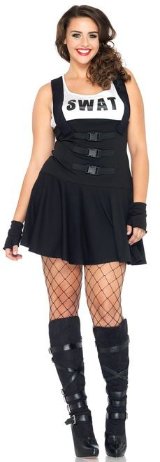 "Don't mess around with this Sultry SWAT Officer costume! Dress with faux harness straps and clips with ""SWAT"" on the shirt and gloves. Pick up a toy baton to really bring the Ladies Plus Sultry SWAT Officer to life at your next Halloween party! #yyc #Calgary #costume #plus #sexylady #SWATofficer"