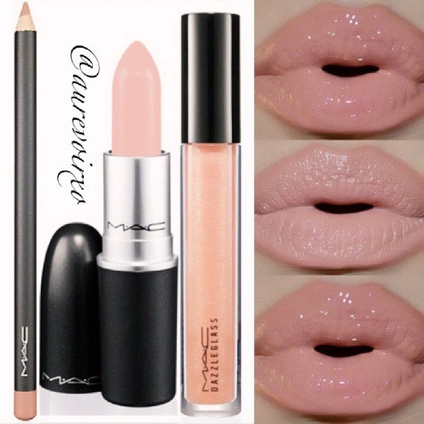 The perfect nude lip! (Middle photo is without gloss.) Lip Liner: Mac