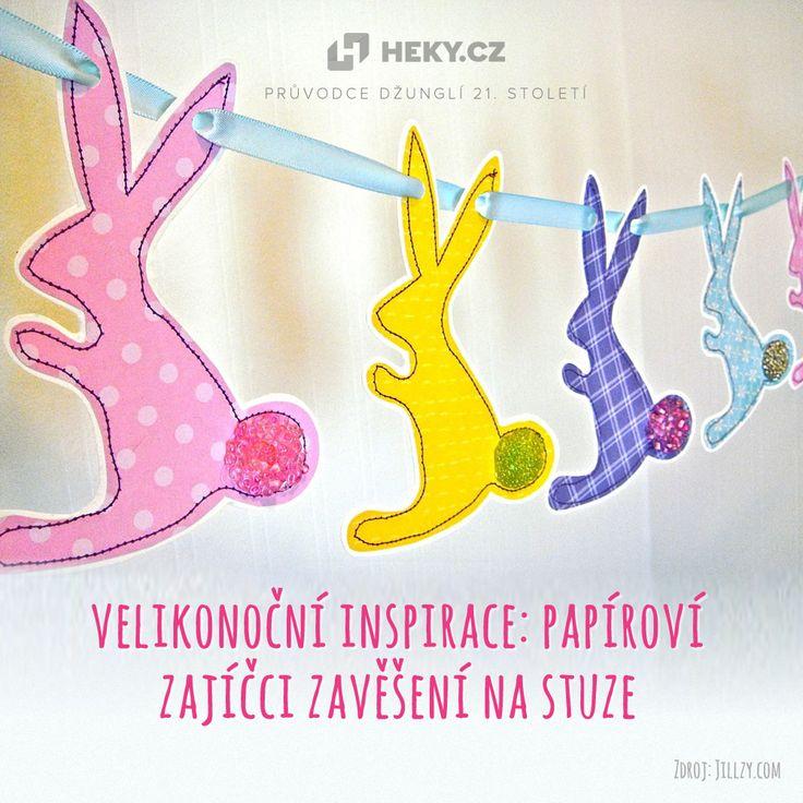 Velikonoční zajíčci zavěšení na stuze rozveselí dětský pokojíček