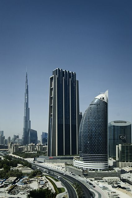 Three Musketeers of Dubai. From right to left: Damac Park Towers, the Index Tower and the Burj Khalifa