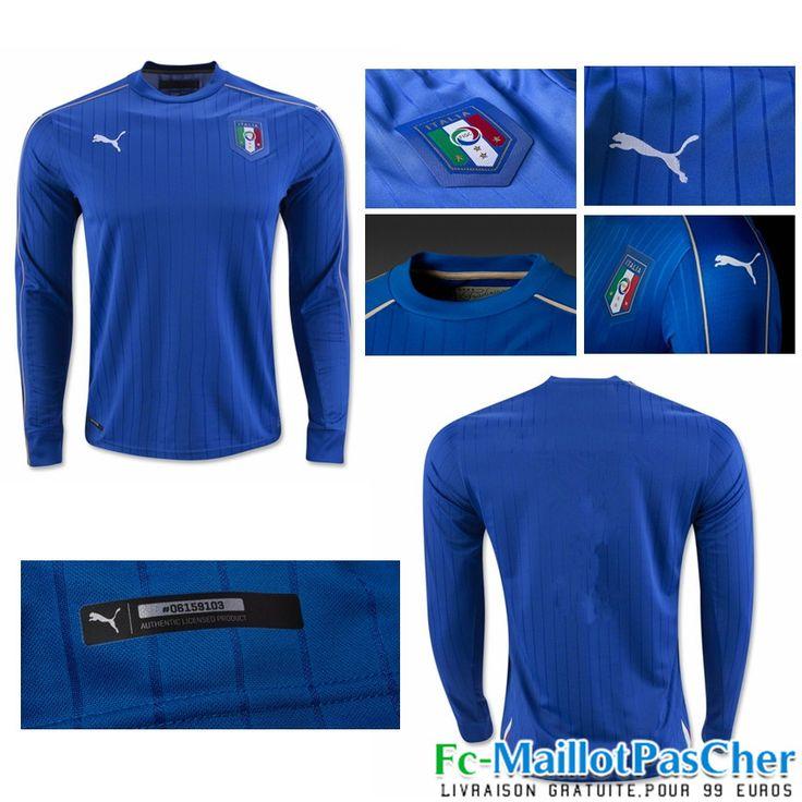 Le Nouveau Maillot du Euro 2016 Italie noir Manche Longue Domicile