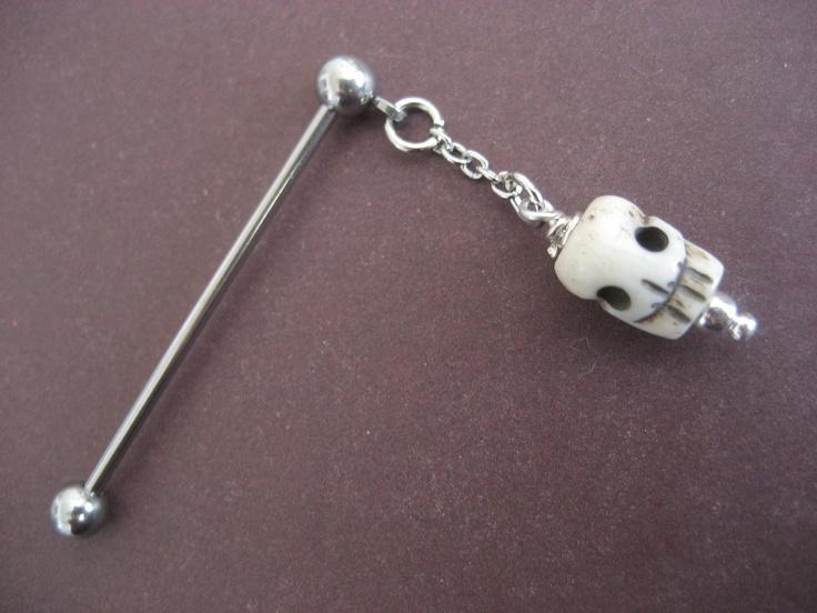 Tribal Skull Industrial Piercing Barbell- Carved Bone Beaded Dangle Charm Bar. $14.00, via Etsy.