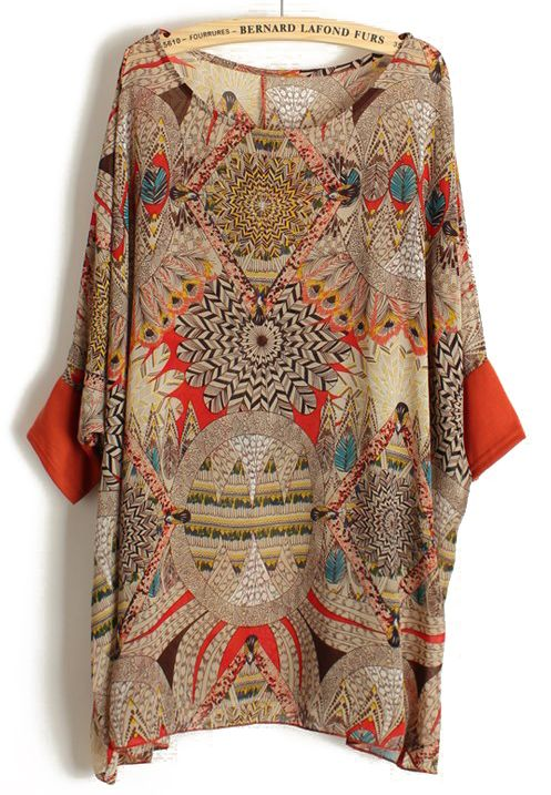 Orange batwing sleeve retro floral chiffon blouse get in for My retro closet