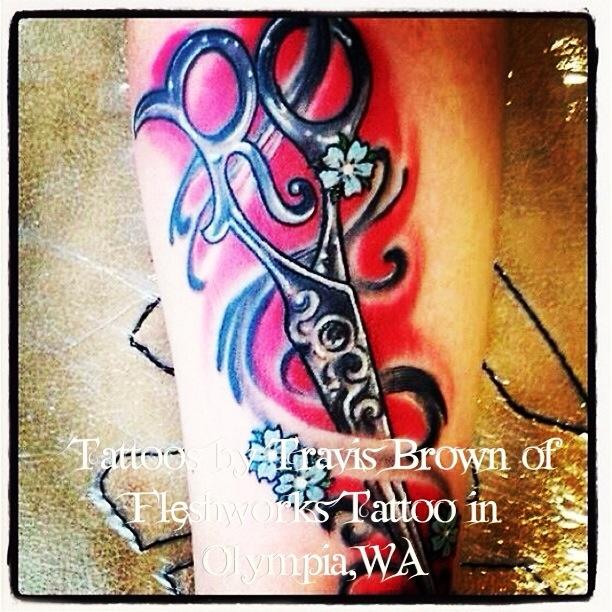 Customized#tattoos by #Travis Brown of #fleshworks #tattoo Studio of #Olympia, WA #360-357-9969 #tattooshop#ink#tattoo#tats#custom#fleshworks #scissors#hair#color#red