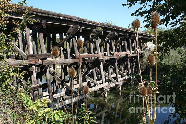 Wooden railroad bridge on the Illinois Central Railroad near the Clinton power plant