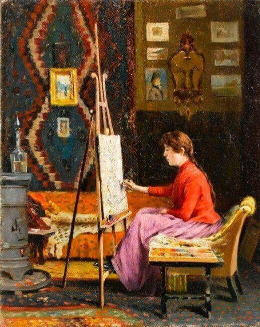 Painter Girl and Workshop - Halil Paşa n/d Turkish 1857-1939 Oil on canvas, 41 x 33 cm.