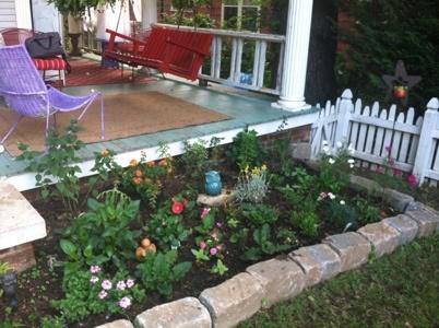 AFTER: new side flower garden & wraparound porch makeover