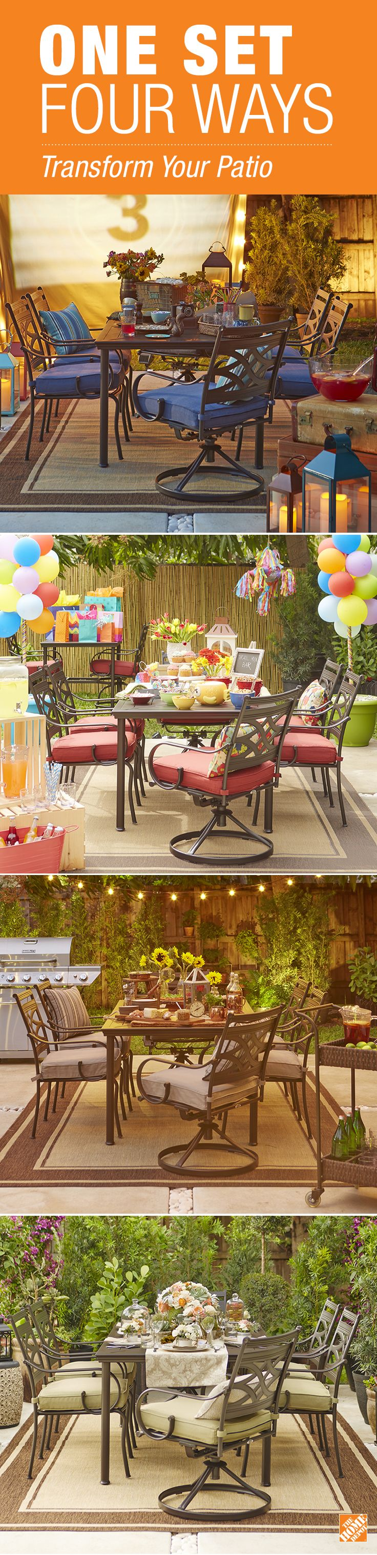 From elegant garden party to backyard movie night, the Middletown dining set from Hampton Bay can host them all. See how one set can take on multiple looks with the help of string lights, lanterns, pillows and patio accessories. It's on The Home Depot Blog.