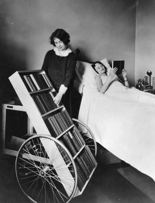 This bookmobile for the sick was wheeled around Los Angeles hospitals in 1928, a service of the LA public library.