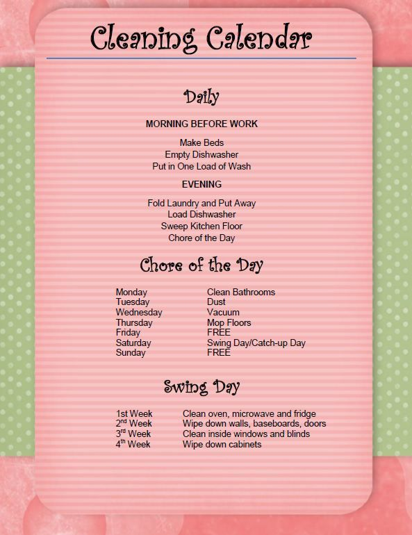 Keep your house clean (yes, deep cleaned, even!) with one chore per day, includes a printable list. It is worth a try!!!