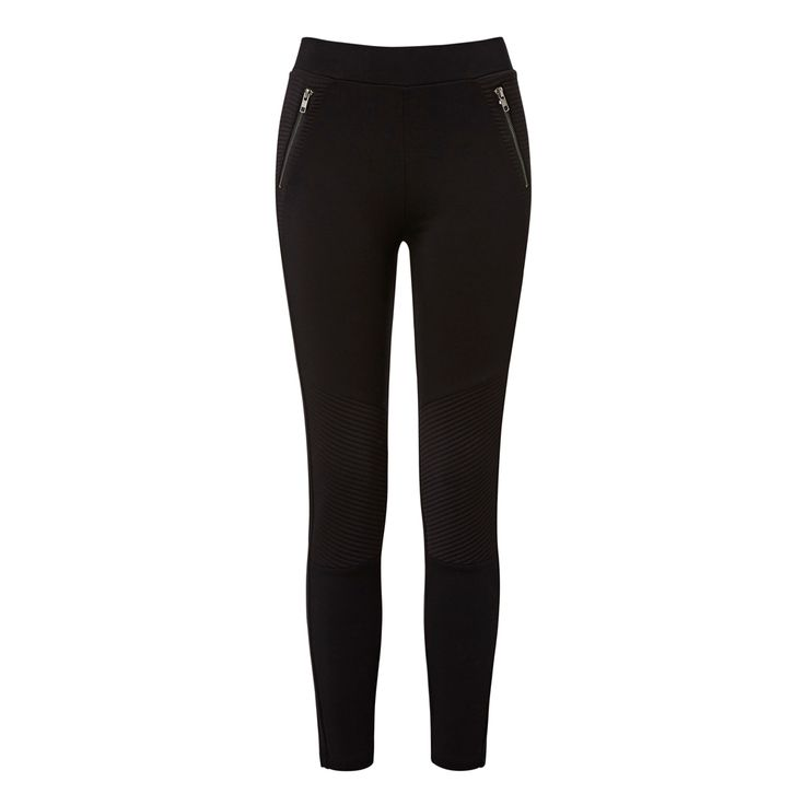 Nylon/elastane Zipper Ponte Legging. Comfortable fitting silhouette features an elasticised waist, side panels at top body with vertical exposed silver zippers and stitched knee panels with slim leg. Available in Black as shown.