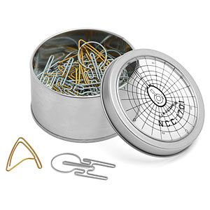 Deploy these Star Trek Paper Clips to help you rein in the bureaucracy. This little tin contains an assortment of 40 clips: around 20 silver-colored NCC-1701 clips and around 20 gold-colored Delta Shield clips.