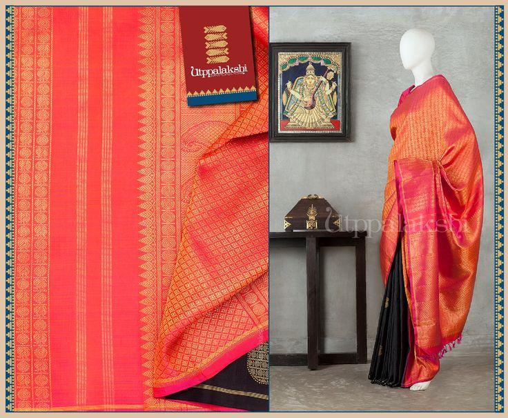 The orange body is filled with square patterns alternately housing bird and bead motifs. The orange pallu has mango, rudraksh and leafy designs. #Utppalakshi #Silksaree#Kancheevaramsilksaree#Kanchipuramsilks #Ethinc#Indian #traditional #dress#wedding #silk #saree #weaving#Chennai #boutique #vibrant#exquisit#weddingsaree#sareedesign #colorful #vivid #indian #southindian #bridal #festival #sophistication https://www.facebook.com/Utppalakshi/ Contact: 097899 37149