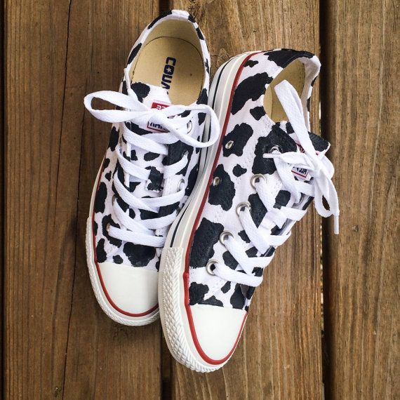 Cow Print Converse Custom Hand Painted Shoes by IntellexualDesign