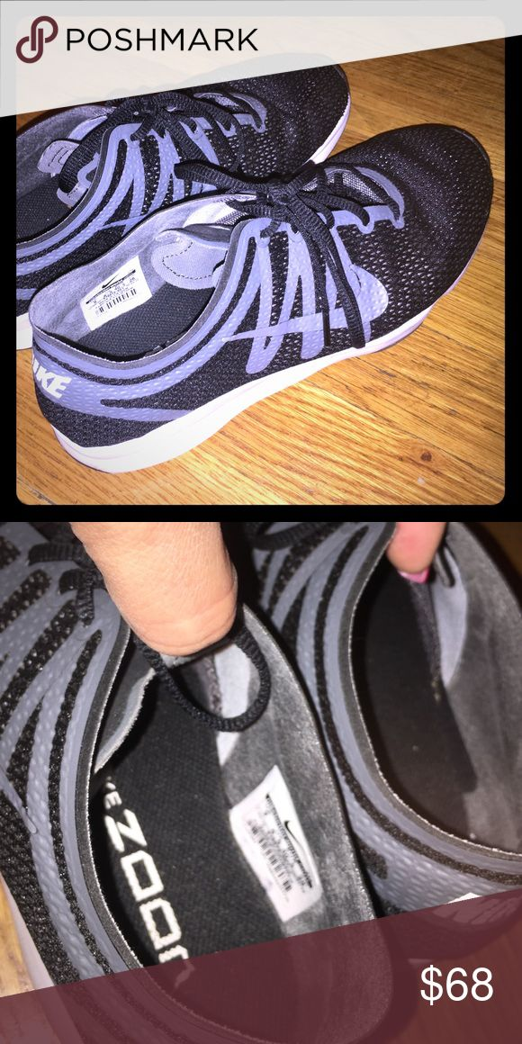 Nike Zoom sneakers size 9 Nike Zoom sneakers size 9. Worn twice! Basically new! Black and grey! They were a little small on me. But otherwise great sneakers! That's why I'm selling cause I feel like I need 9 & a half! Shoes Athletic Shoes