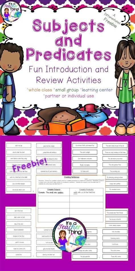 Freebie! Who said grammar can't be fun??? Use the Subject and Predicate Activities to liven up your lessons and student learning. You��ll receive *64-complete subject slips with solid borders (two levels-��H�� and ��L��). *64-complete predicate slips with d