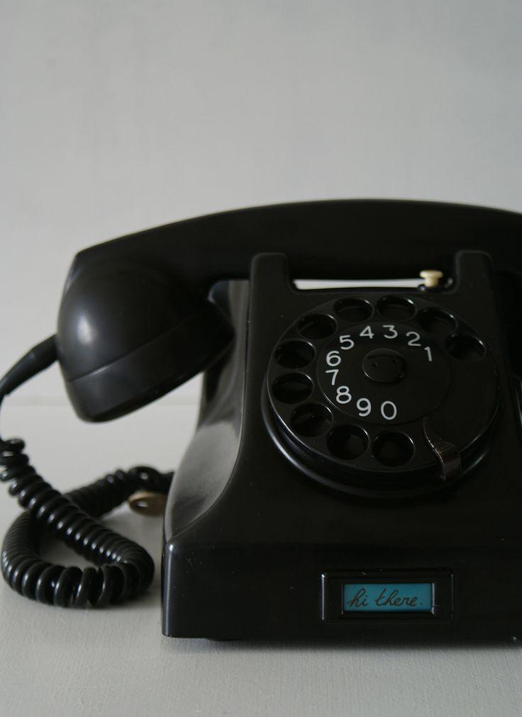 Dark black vintage 1960s Dutch bakelite phone