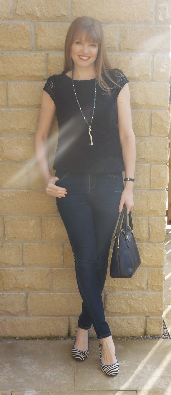 Outfit: Navy Lace Top, Zebra Shoes and Azure Tassel Necklace