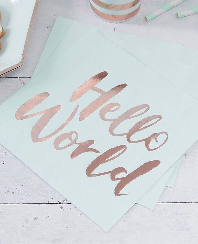 Our Hello World Baby Shower Supplies Have Arrived And These Baby Shower  Napkins Are Super Cute