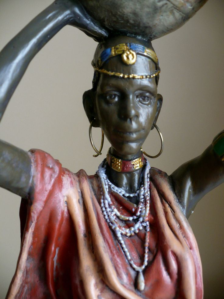 African Woman Carrying Water Jug On Head Figurine Statue