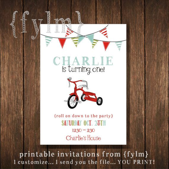 RED Tricycle Party Printable Party Invitations - I design - YOU PRINT - vintage bike - tricycle