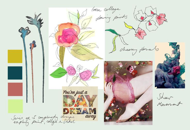 Claire Coles design - mood board for silk scarves