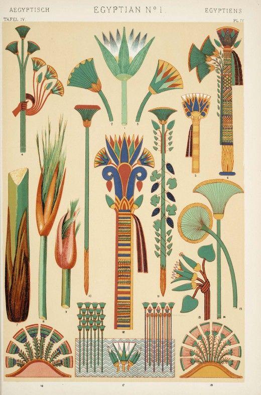 """illustration : planche de motifs égyptiens no. 1, """"grammaire de l'ornement"""", Owen Jones, 1856"""