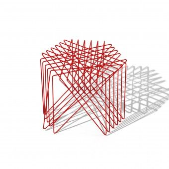 """Shinn Asano: Kagome stool. The designer says""""'Kagome' the name of my stool, is both a pattern used in basket weaving and a shape used in Shinto shrines. The word 'kage' given to the small circular table means 'shadow' and I have incorporated these ideas into the way the light works with the furniture. I chose red because for me it is a powerful color with a long history in Japan."""""""
