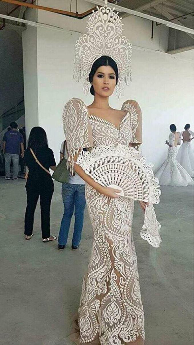 ff5d4a49d Filipiniana gown dress butterfly sleeves fan crown horn lace | I do in 2019  | Filipiniana dress, Dresses, Modern filipiniana gown