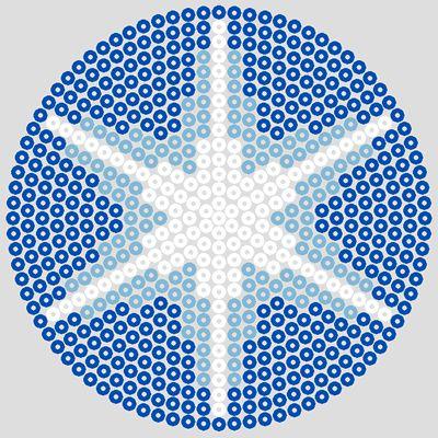 Blue large circle Winter hama beads