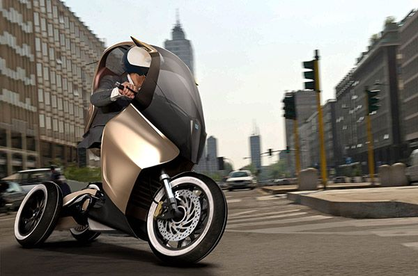 NOT YOUR MOTHER'S MOPED - Like Piaggio's MP3 scooter, the PAM also uses 3 wheels for added traction and balance, but these are reversed from front to back for a sportier riding feel.