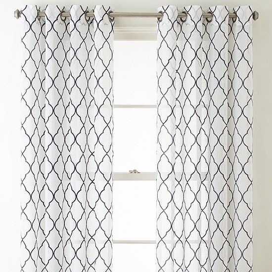Jcpenney Home Bayview Embroidery Sheer Grommet Top Curtain