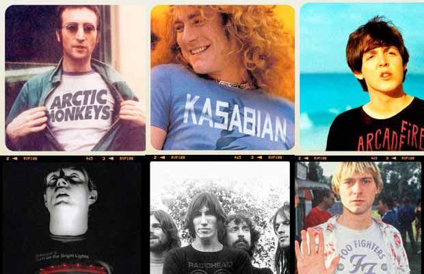 Confira a lista com os astros da música usando camisetas de bandas que eles influenciaram