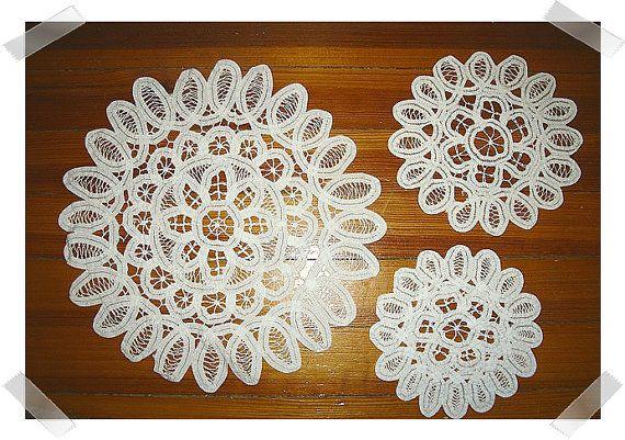 Vintage Batten burg White Lace Doilies/Set of by kathyscraftroom55