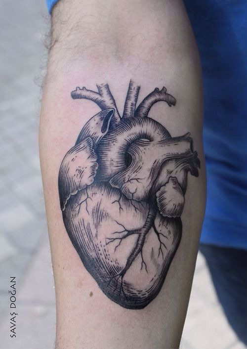 Nice realistic heart Black an Graywash ink