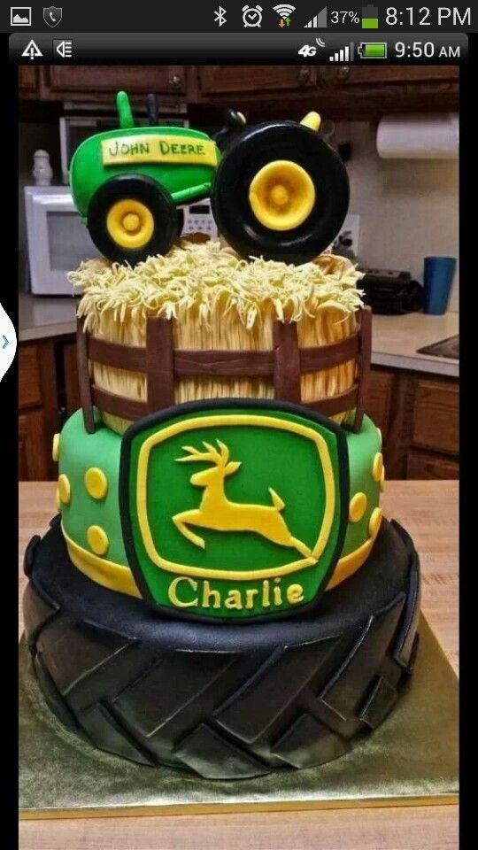 John Deere cake for Kade use hay idea with this cake on 2 layer cake...take off tire
